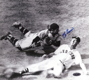 Yogi Berra Signed New York Yankees Black and White 8x10 Photo - with Ted Williams-0