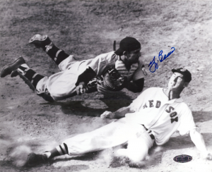 Yogi Berra Signed New York Yankees Black and White 8x10 Photo - with Ted Williams-0