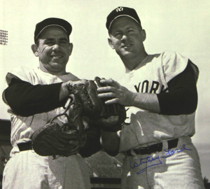 Whitey Ford Signed New York Yankees Black and White 16x20Photo - with Yogi Berra-0