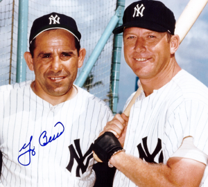Yogi Berra Signed New York Yankees Color 8x10 Photo - with Mickey Mantle-0