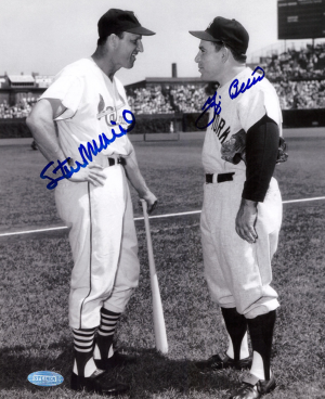 Yogi Berra & Stan Musial Signed New York Yankees Black and White 8x10 Photo-0