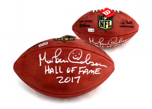 "Morten Andersen Signed Wilson Authentic NFL Football with ""Hall of Fame 2017"" Inscription - Atlanta Falcons-0"