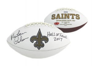 """Morten Andersen Signed New Orleans Saints NFL Embroidered Football with """"Hall of Fame 2017"""" Inscription-0"""