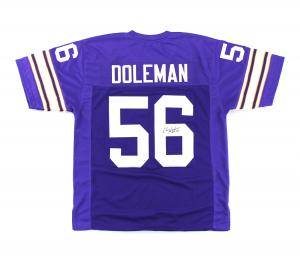 "Chris Doleman Signed Minnesota Vikings Purple custom Jersey with ""HOF 12"" Inscription-0"