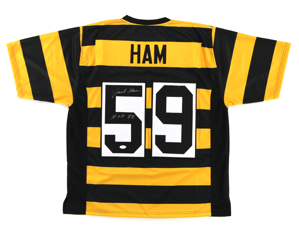 94b08f82ffc Jack Ham Autographed/Signed Pittsburgh Steelers Bumblebee Custom Jersey  with