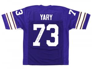 "Ron Yary Signed Minnesota Vikings Purple custom Jersey with ""HOF 01"" Inscription-0"