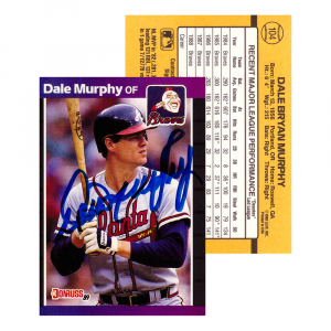 Dale Murphy Autographed/Signed 1988 Donruss #104 Atlanta Braves Baseball Card-0