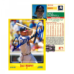 Dale Murphy Signed 1988 Score #450 Atlanta Braves Baseball Card-0