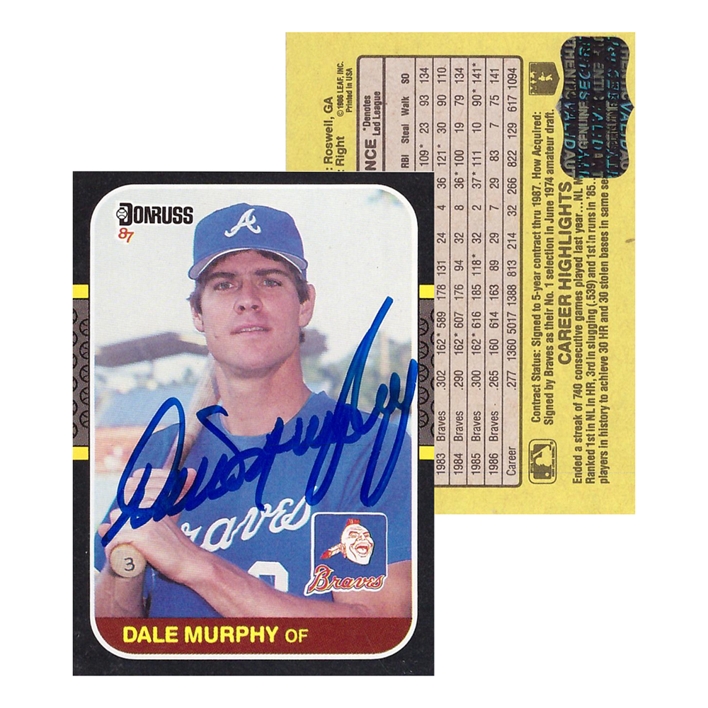 Dale Murphy Signed 1986 Donruss Pc 10 Atlanta Braves Baseball Card