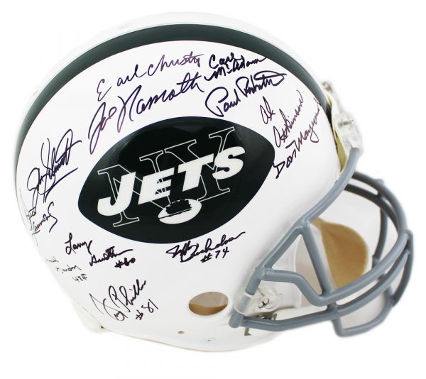 1969 New York Jets Multi-Signed NFL Riddell Authentic Helmet - 24 Signatures-17152