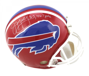 "Jim Kelly Signed Buffalo Bills Throwback Authentic NFL Helmet with ""35,467"" Inscription - Silver Ink-0"