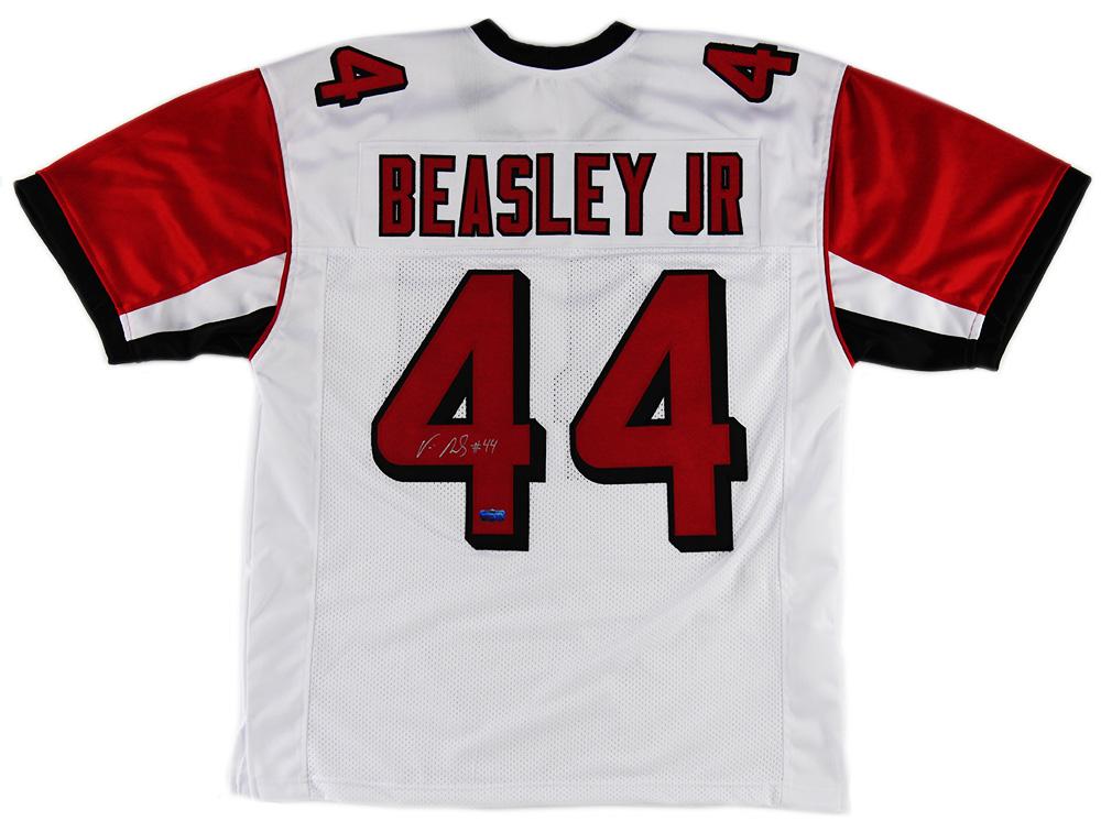 reputable site 7b5cc 42de1 Vic Beasley Signed Atlanta Falcons Custom White Jersey