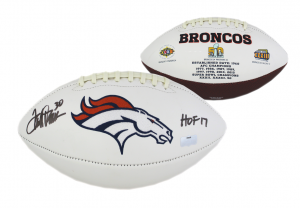 "Terrell Davis Signed Denver Broncos Embroidered Football with ""HOF 17"" Inscription-0"