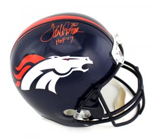"""Terrell Davis Signed Denver Broncos Full Size NFL Helmet with """"HOF 17"""" Inscription-0"""