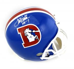 """Terrell Davis Signed Denver Broncos Riddell Throwback Full Size NFL Helmet with """"HOF 17"""" Inscription-0"""