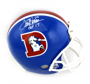 "Terrell Davis Signed Denver Broncos Riddell Throwback Authentic NFL Helmet with ""HOF 17"" Inscription-0"