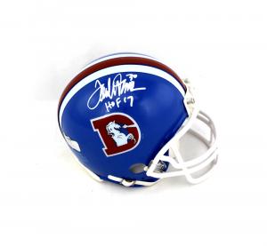 """Terrell Davis Signed Denver Broncos Riddell Throwback NFL Mini Helmet with """"HOF 17"""" Inscription-0"""