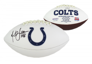 Marshall Faulk Signed Indianapolis Colts NFL Embroidered Football-0