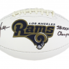 """Marshall Faulk Signed Los Angeles Rams NFL Embroidered Football with """"SB Champs"""" Inscription-19522"""