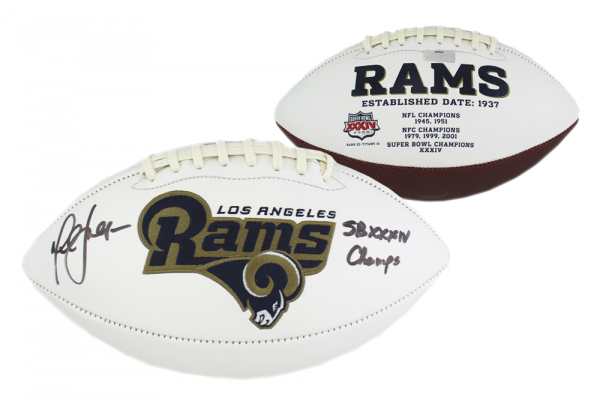 """Marshall Faulk Signed Los Angeles Rams NFL Embroidered Football with """"SB Champs"""" Inscription-0"""