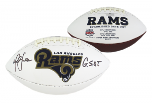 "Marshall Faulk Signed Los Angeles Rams NFL Embroidered Football with ""G.S.O.T."" Inscription-0"