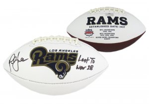 "Marshall Faulk Signed Los Angeles Rams NFL Embroidered Football with ""Last to Wear 28"" Inscription-0"