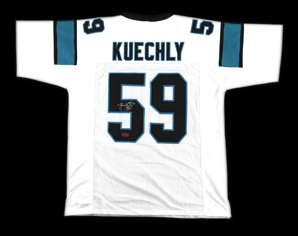 huge selection of 113ec a18f7 Luke Kuechly Signed Carolina Panthers Custom White Jersey