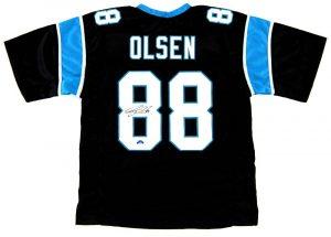Greg Olsen Signed Carolina Panthers Black Custom Jersey-0