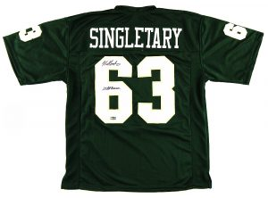 "Mike Singletary Signed Baylor Bears Custom Green Jersey With ""2x All American"" Inscription -0"