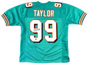 Jason Taylor Signed Miami Dolphins Custom Green Jersey -0