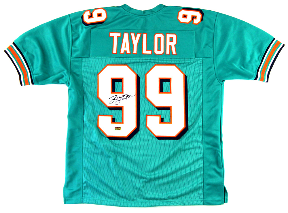 promo code 35920 22ac5 Jason Taylor Signed Miami Dolphins Custom Green Jersey