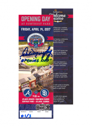 "Dale Murphy Signed 2017 SunTrust Park Opening Day Ticket with ""Opening Day"" Inscription - Limited Edition 1/3 -0"