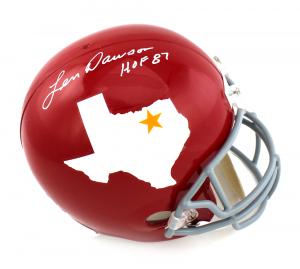 "Len Dawson Signed Houston Texans Throwback Full Size Helmet with ""HOF 87"" Inscription-0"
