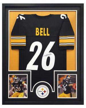 LeVeon Bell Signed Pittsburgh Steelers Black Framed Custom Jersey - Circle Decal-0