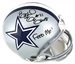 "Ezekiel Elliott Signed Dallas Cowboys Current Authentic Helmet with ""Feed Me"" Inscription-0"