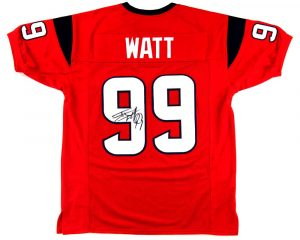 J.J. Watt Signed Houston Texans Red Custom Jersey-0
