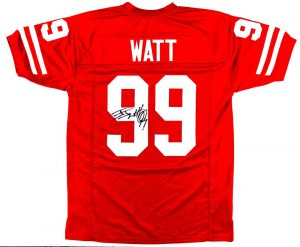 J.J. Watt Signed Wisconsin Badgers Red Custom Jersey-0