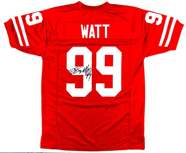 J.J. Watt Signed Wisconsin Badgers Red Custom Jersey ...