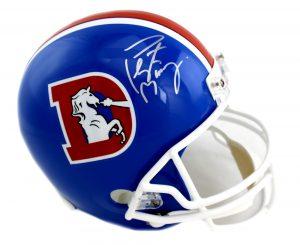 Peyton Manning Signed Denver Broncos Riddell Throwback Full Size NFL Helmet -0