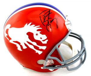 Peyton Manning Signed Denver Broncos Riddell Throwback Orange NFL Helmet -0