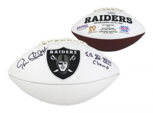 "Jim Plunkett Signed Oakland Raiders Embroidered NFL Football with ""SB XV, XVIII Champ"" Inscription-0"