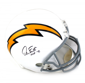 "Dan Fouts Signed San Diego Chargers Throwback White Full Size NFL Helmet with ""HOF 93"" Inscription-0"
