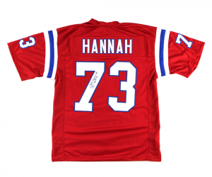 "John Hannah Signed New England Patriots Red Custom Jersey with ""HOF 91"" Inscription-0"