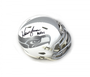 """Warren Moon Signed NFL Seattle Seahawks Speed ICE Mini Helmet with """"HOF 06"""" Inscription-0"""