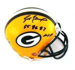 """Brett Favre Signed Green Bay Packers Mini Helmet With """"95, 96, 97, MVP"""" Inscription-0"""