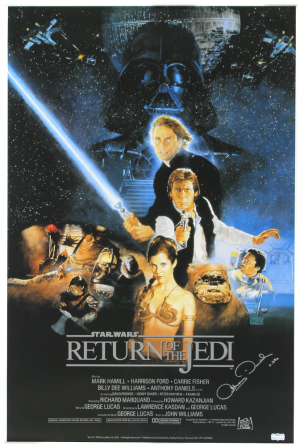 "Anthony Daniels Signed Star Wars Return of the Jedi Poster with ""C-3PO"" Inscription-0"