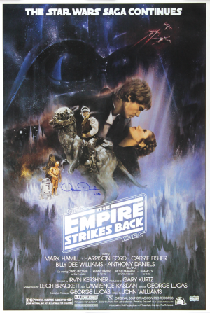 "Anthony Daniels Signed Star Wars The Empire Strikes Back Poster with ""C-3PO"" Inscription-0"