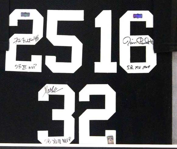 newest 1bc70 edce9 Marcus Allen, Fred Biletnikoff, Jim Plunkett Signed Oakland Raiders Framed  Custom Jersey With
