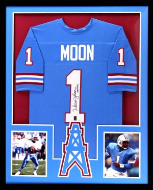 "Warren Moon Signed Houston Oilers Framed Throwback Powder Blue Custom Jersey With ""HOF 06"" Inscription-0"
