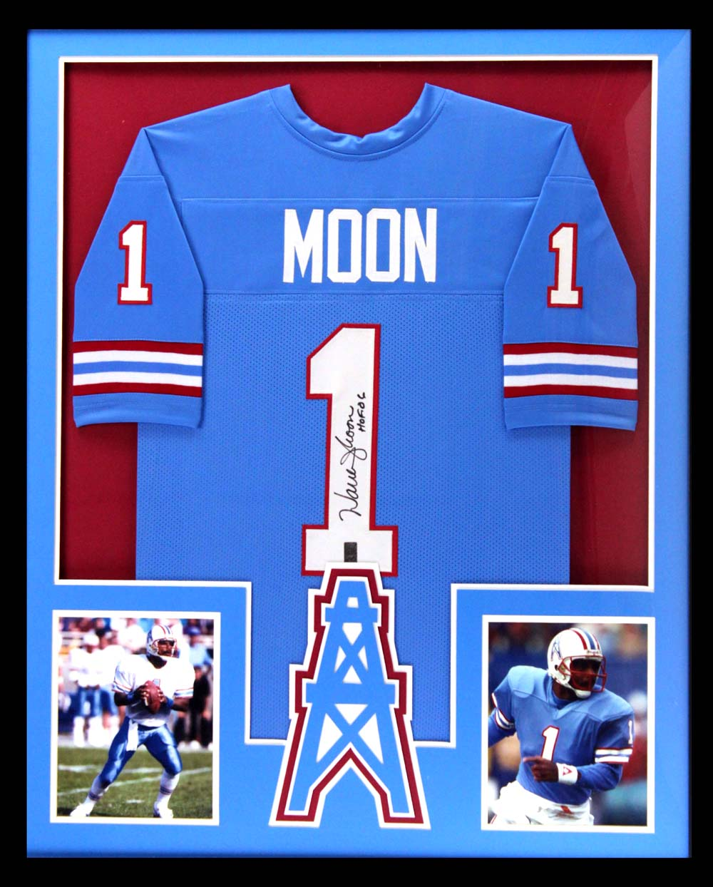 e30c63393 Warren Moon Signed Houston Oilers Framed Throwback Powder Blue Custom Jersey  With